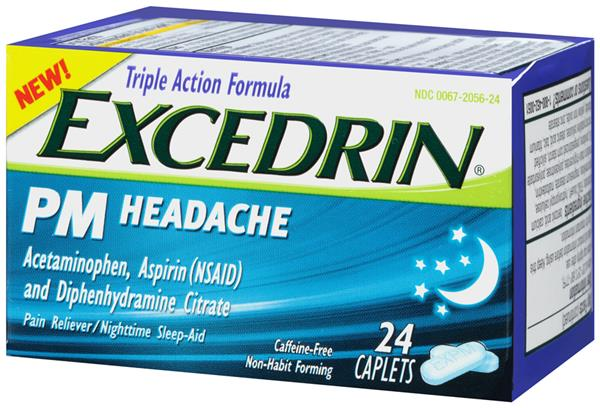 Excedrin PM Headache Acetaminophen, Aspirin (NSAID) and Diphenhydramine Citrate Caplets