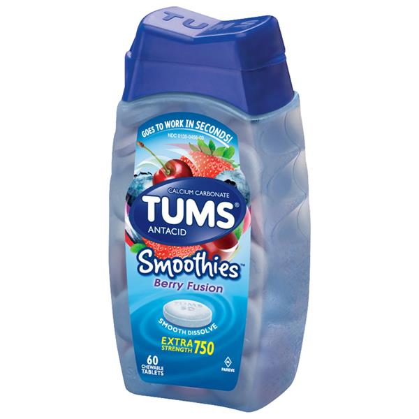 Tums Smoothies Extra Strength 750 Berry Fusion Antacid/Calcium Supplement Chewable Tablets
