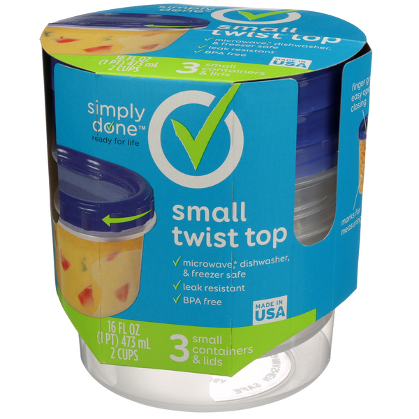 Simply Done 2Cup Small Twist Top Containers & Lids 3Ct