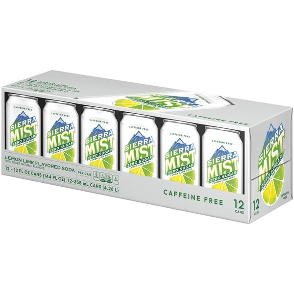 Sierra Mist Zero Sugar Lemon Lime Flavored Soda 12Pk