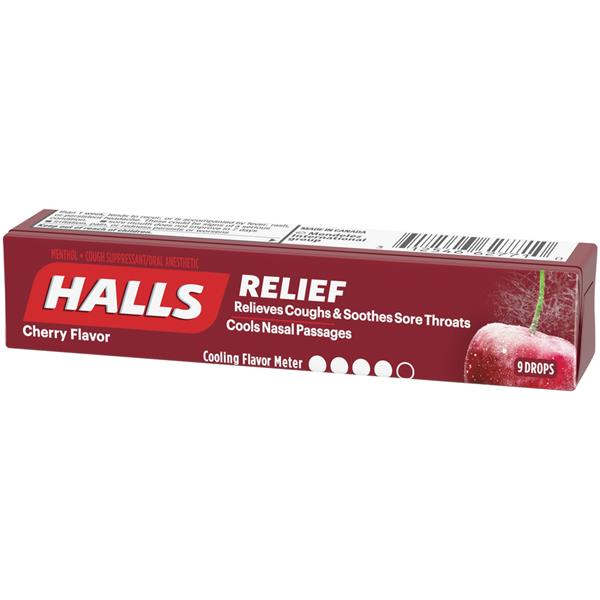 Halls Cherry Cough Suppressant/Oral Anesthetic Menthol Drops