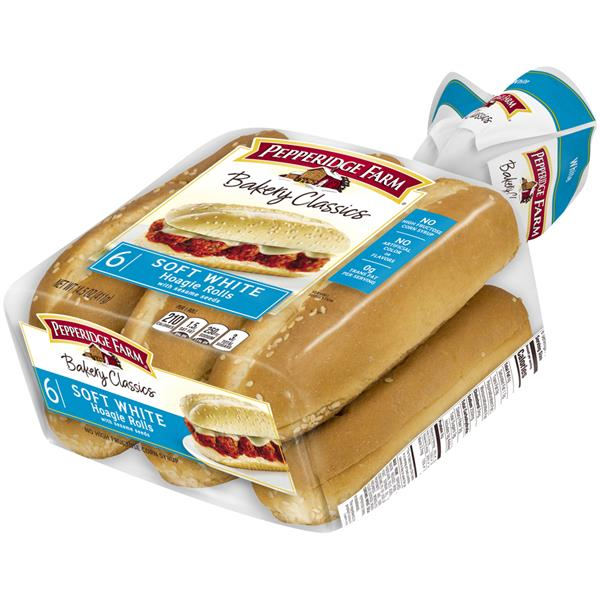 Pepperidge Farm Bakery Classics Soft White Hoagie Rolls With Sesame Seeds 6 Count