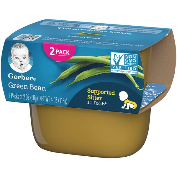 Gerber Supported Sitter 1st Foods Green Bean 2 - 2 oz Cups