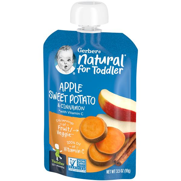 Gerber Pouch Toddler Apple Sweet Potato with Cinnamon Non GMO
