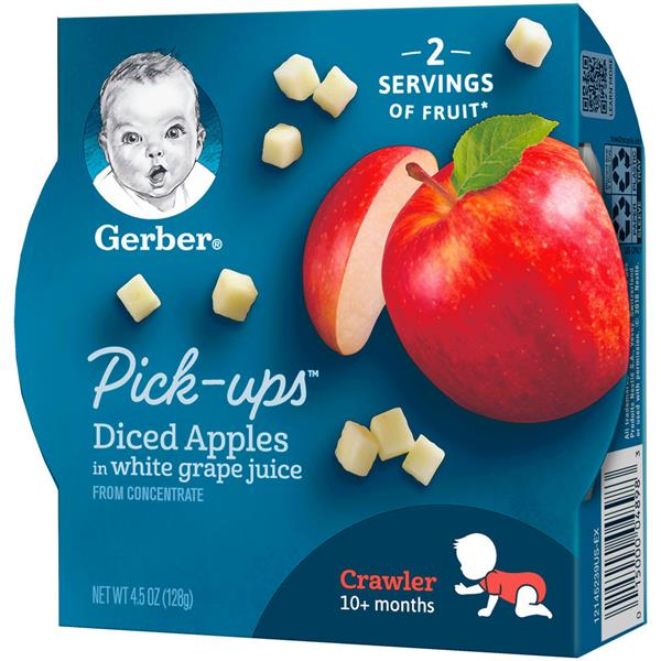 Gerber Fruit Pick Ups Diced Apples in White Grape Juice
