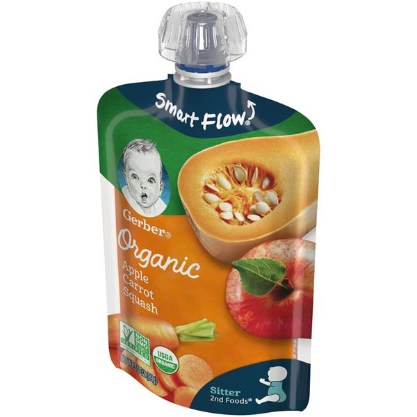 Gerber Organic 2nd Foods Fruit & Veggies Apples Carrots & Squash