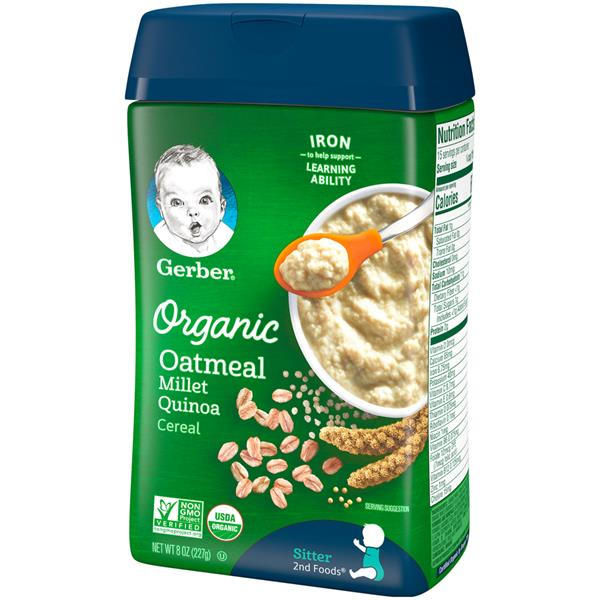 Gerber 2nd Foods Organic Oatmeal Millet Quinoa Cereal