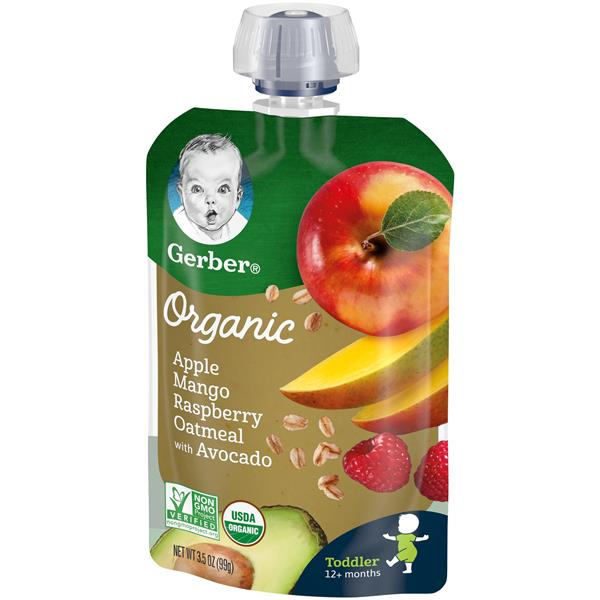 Gerber Organic Toddler Apple Mango Raspberry Oatmeal with Avocado