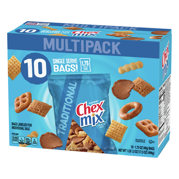 Chex Mix Traditional Snack Mix 10 1 75 Oz Bags Hy Vee Aisles Online Grocery Shopping