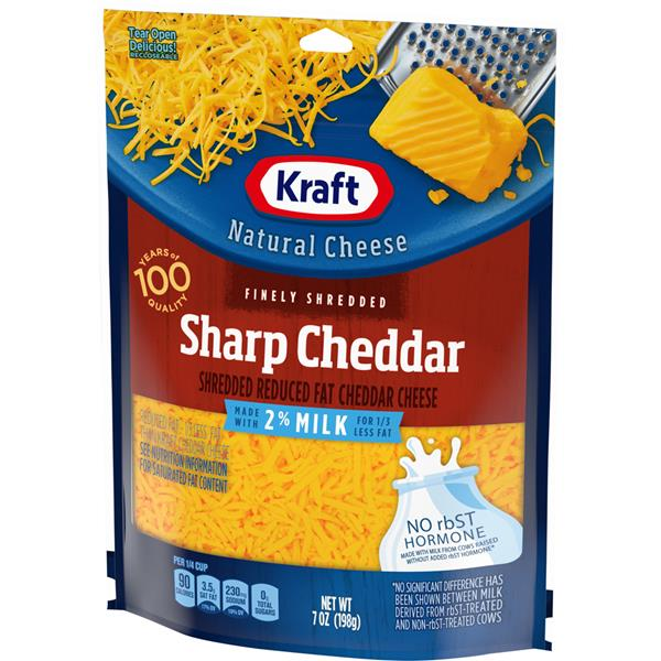 Kraft Finely Shredded Sharp Cheddar Cheese Made with 2% Milk