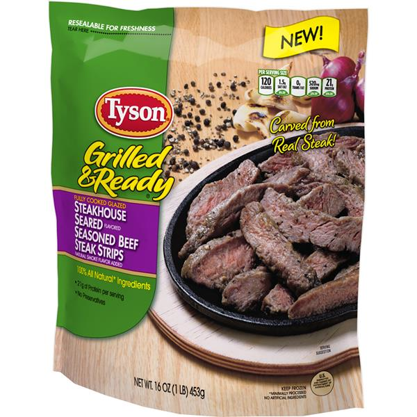 Tyson Grilled & Ready Fully Cooked Steakhouse Seasoned Beef Steak Strips
