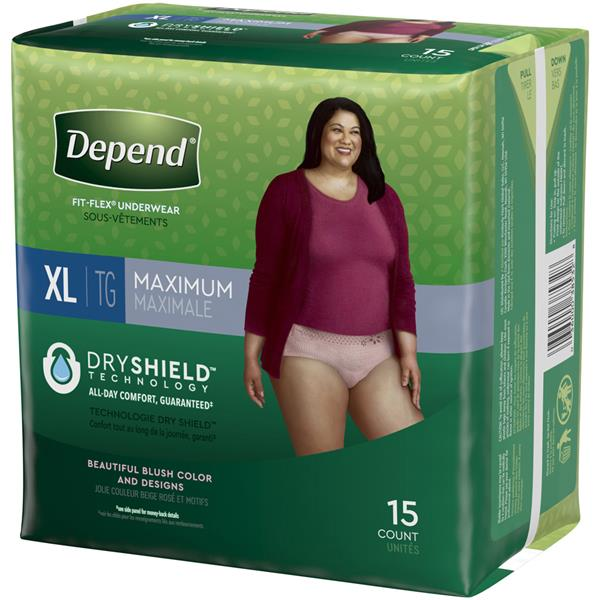 Depend for Women XL Maximum Absorbency Underwear, Blush Color