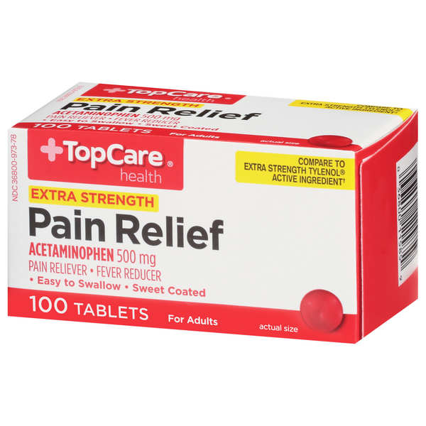TopCare Extra Strength Pain Relief Acetaminophen 500mg Tablets