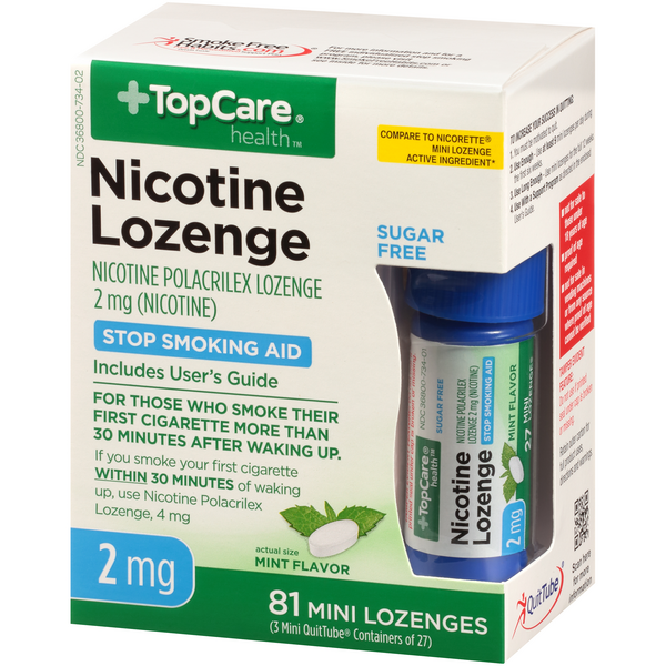 TopCare Nicotine Polacrilex 2Mg Mint Flavor Mini Lozenges Stop Smoking Aid