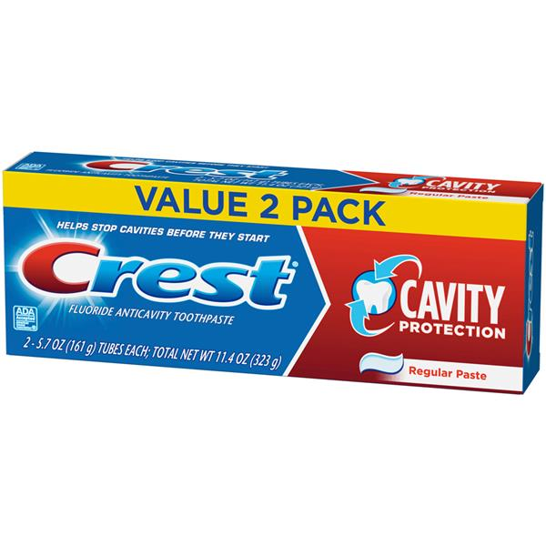 Crest Cavity Protection Toothpaste, Regular Paste, 2-5.7 oz Tubes