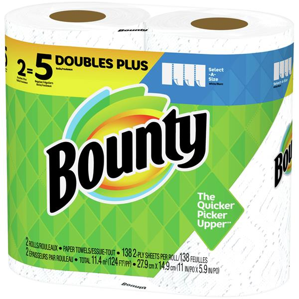 Bounty Select-A-Size White Paper Towels Double Plus Rolls