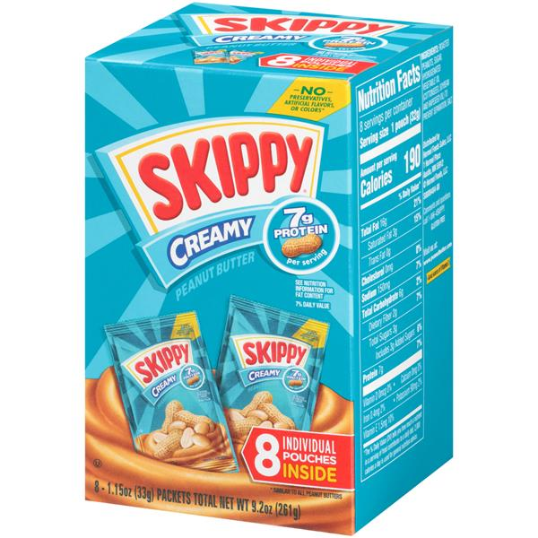 Skippy Creamy Peanut Butter 8-1.15 oz. Individual Pouches