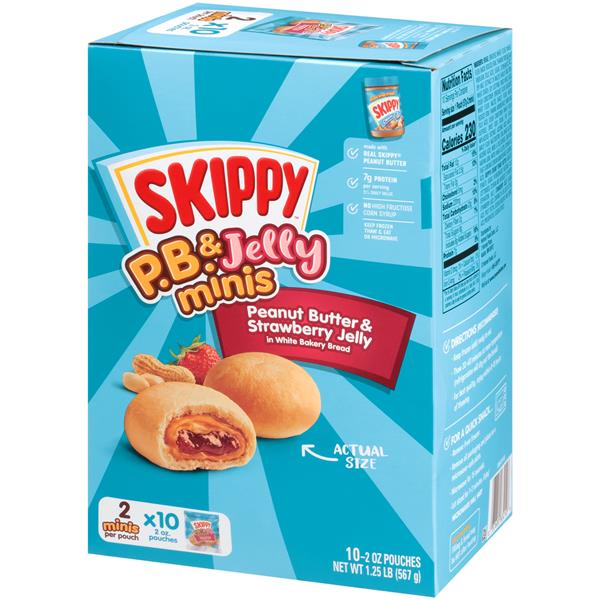 Skippy P.B. & Jelly Minis Peanut Butter & Strawberry Jelly in White Bread 10-2 oz. Pouches