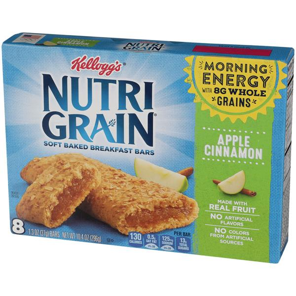 Kellogg's Nutri Grain Soft Baked Apple Cinnamon Breakfast Bars 8-1.3 oz Bars