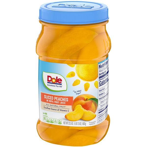 Dole Yellow Cling Sliced Peaches In 100% Fruit Juice