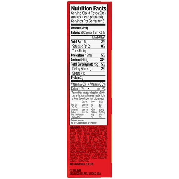 chicken noodle soup nutrition label