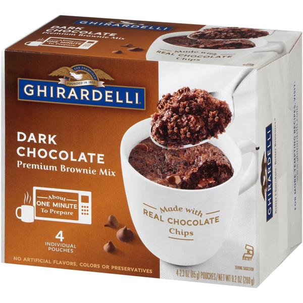 Ghirardelli Dark Chocolate Premium Brownie Mug Mix 4 - 2.3 oz Pouches