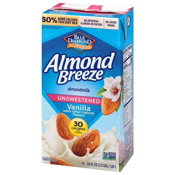Blue Diamond Almond Breeze Unsweetened Vanilla Almond Milk Family Size