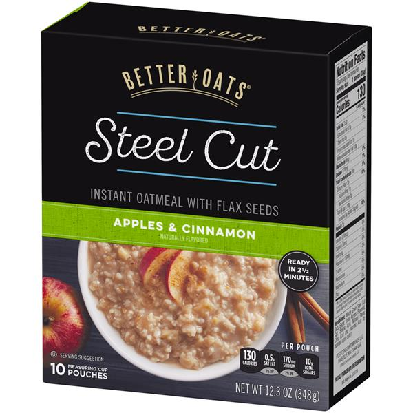 Better Oats Steel Cut Apple & Cinnamon Instant Oatmeal with Flaxseeds 10 Pouches
