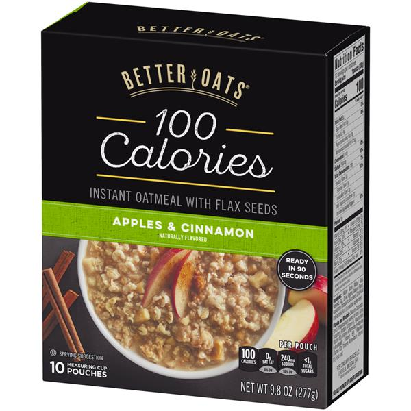 Better Oats 100 Calories Apples & Cinnamon Instant Oatmeal with Flax Seeds 10Ct