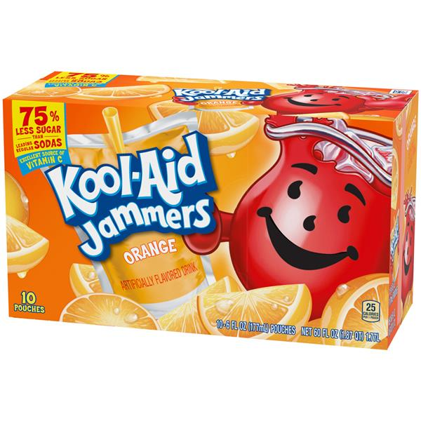 Kool-Aid Jammers Orange Flavored Drink 10-6 fl oz Pouches