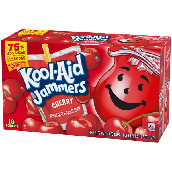 Kool-Aid Jammers Cherry Flavored Drink 10-6 fl oz Pouches