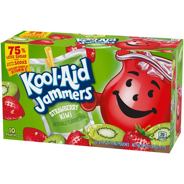 Kool-Aid Jammers Strawberry Kiwi Flavored Drink 10 - 6 fl oz Pouches