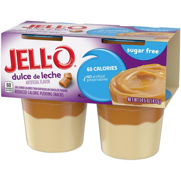 Jell-O Sugar Free Dulce de Leche Reduced Calorie Pudding Snacks 4 ct Cups