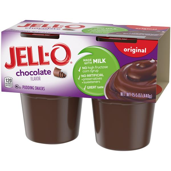 Jell-O Chocolate Pudding Snacks 4 Pk Cups