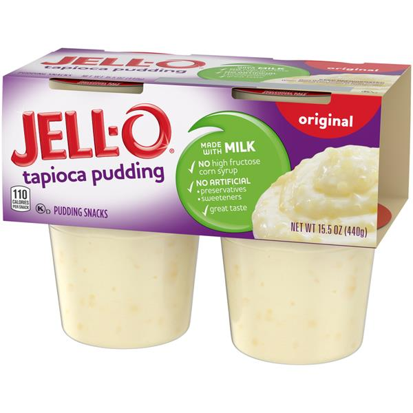 Jell-O Tapioca Pudding Snacks 4 Pk Cups