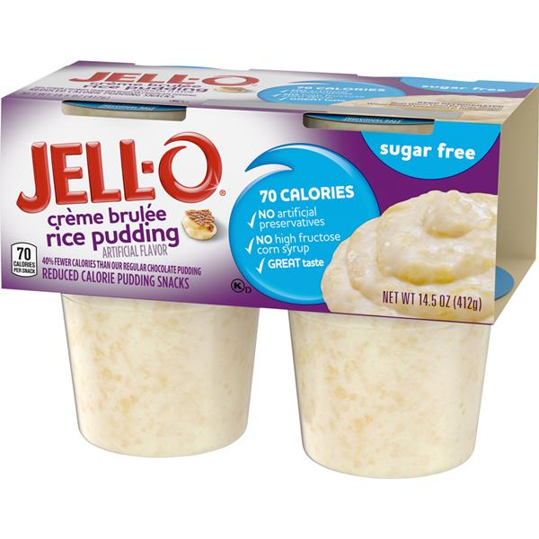 JELL-O Sugar Free Creme Brulee Rice Pudding Reduced Calorie Pudding Snacks, 4 ct Pack