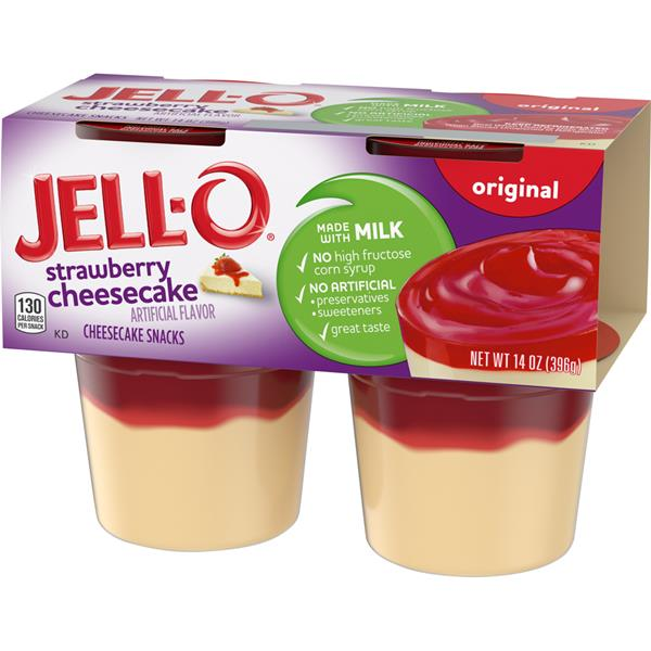 Jell-O Original Strawberry Cheesecake Snacks 4 ct Cups