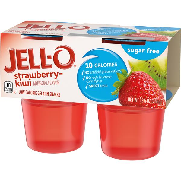 Jell-O Sugar Free Strawberry-Kiwi Low Calorie Gelatin Snacks 4 Cups