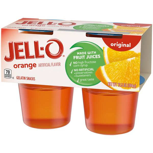 Jell-O Orange Gelatin Snacks 4Pk Cups