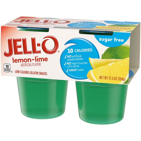 Jell-O Sugar Free Lemon-Lime Low Calorie Gelatin Snacks 4Pk Cups