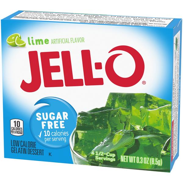 Jell-O Sugar Free Lime Low Calorie Gelatin Dessert Mix