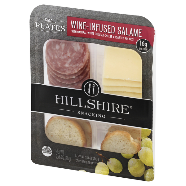 Hillshire Snacking Small Plates Wine Infused Salame with Natural White Cheddar Cheese & Toasted Rounds