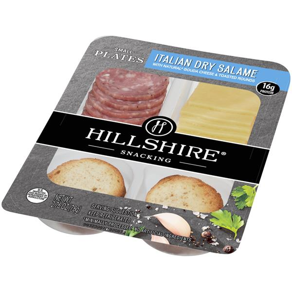 Hillshire Snacking Small Plates Italian Dry Salame with Natural Gouda Cheese & Toasted Rounds