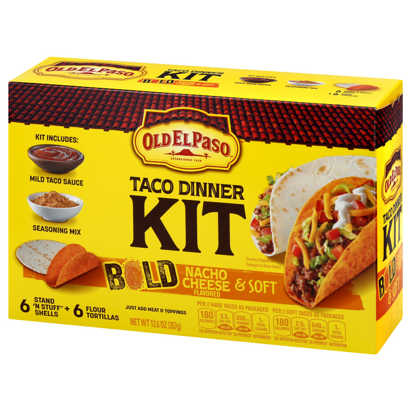 Old El Paso Taco Dinner Kit Bold Nacho Cheese Soft Tortilla Hy Vee Aisles Online Grocery Shopping