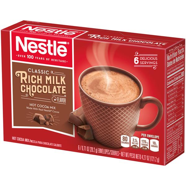 Nestle Hot Cocoa Mix Rich Milk Chocolate Flavor, 6-0.71 oz Envelopes