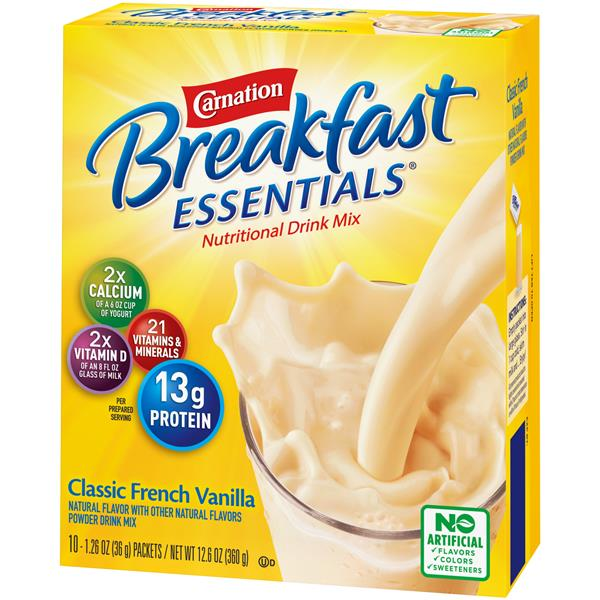Carnation Breakfast Essentials Classic French Vanilla Complete Nutritional Drink, 10-1.26 oz Packets