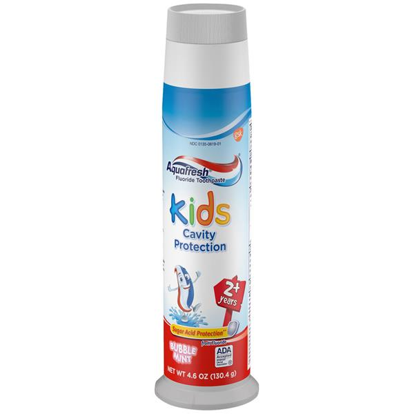 Aquafresh Kids Pump Cavity Protection Bubble Mint Fluoride Toothpaste for Cavity Protection, 4.6 ounce