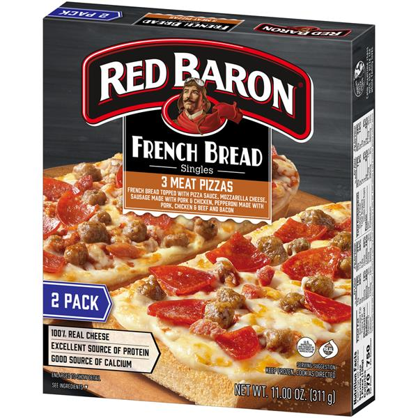 Red Baron Singles 3 Meat French Bread Pizza 2 Ct