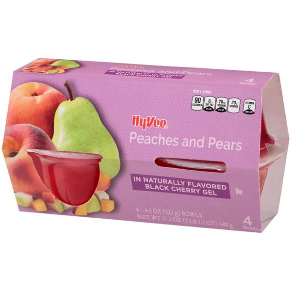 Hy-Vee Peaches and Pears in Black Cherry Gel - 4-4.3 oz Bowls