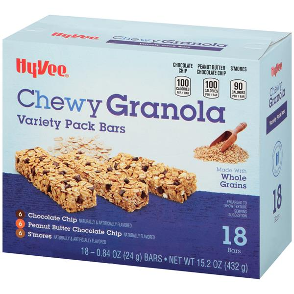 Hy-Vee Chewy Granola Bars Variety Pack, 18-0.84 oz Bars